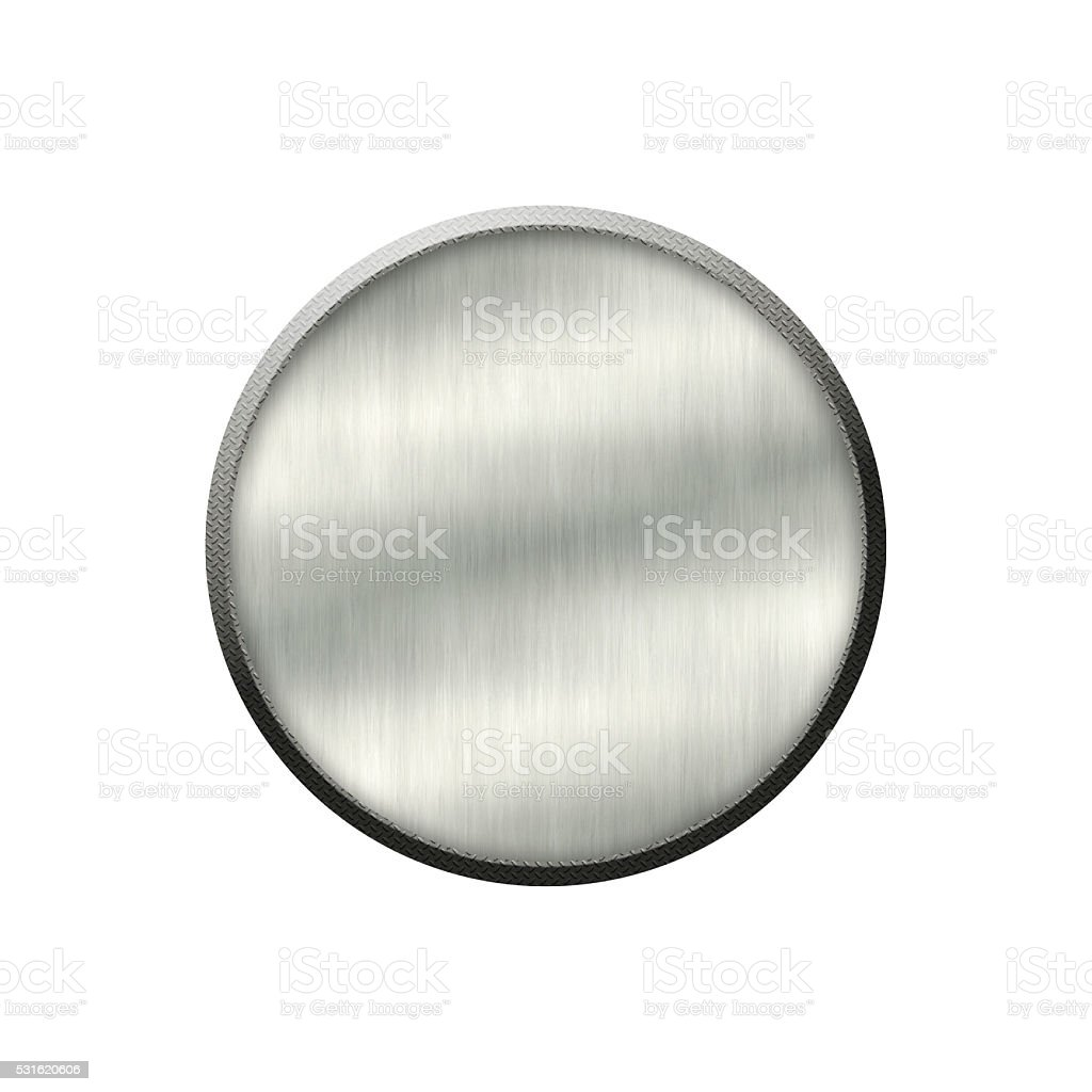 Metal badge with metallic border in form of circle. stock photo