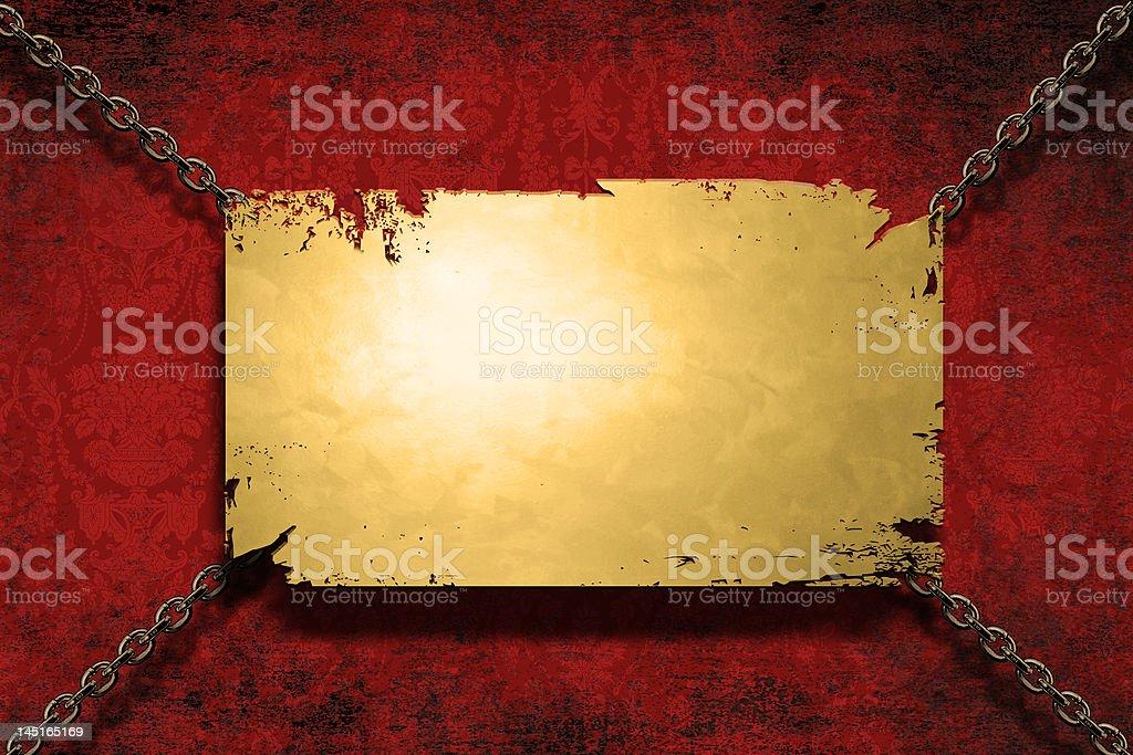 banner de Metal con cadenas sobre un fondo grungy illustracion libre de derechos libre de derechos