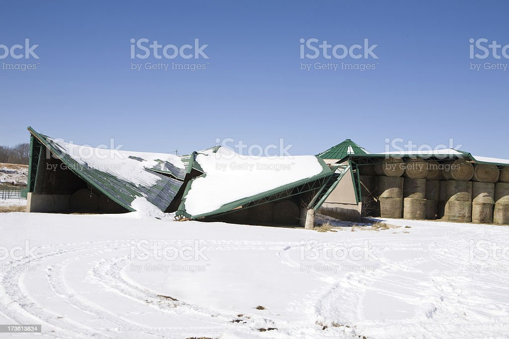 Metal Barn Roof Collapse stock photo