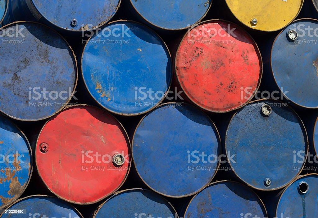 Metal barrels at scrapyard stock photo