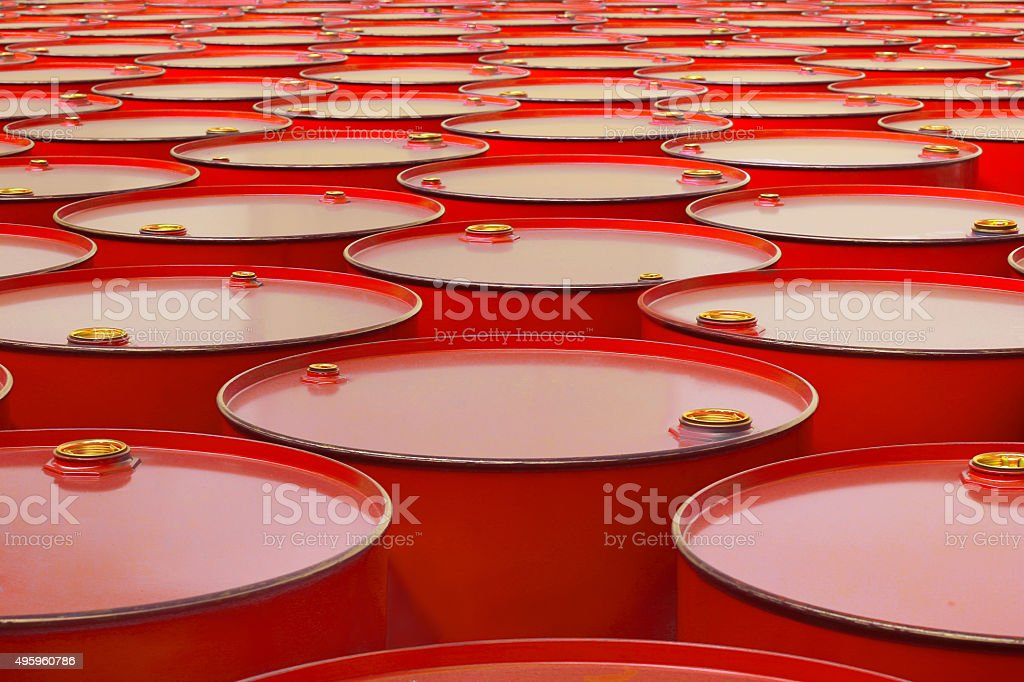 metal barrels stock photo