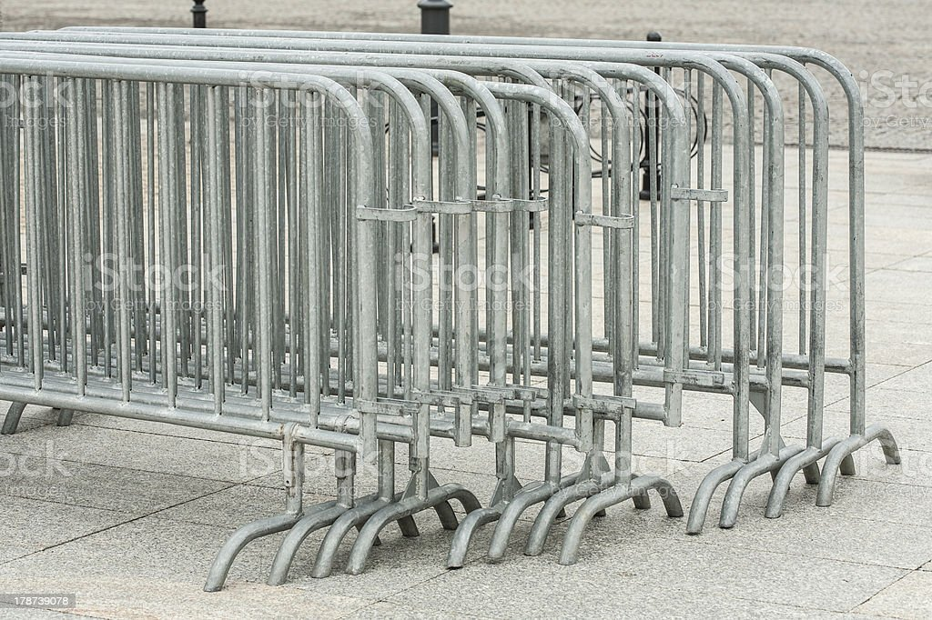 Metal barriers separating people at the concert. royalty-free stock photo