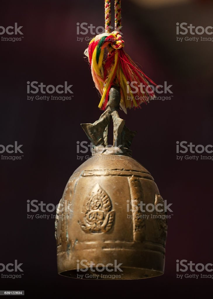 Metal bell in a Buddhist monastery stock photo