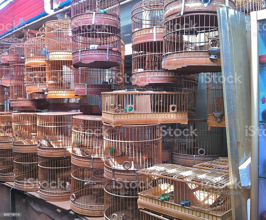 Metal Birdcages in Shanghai Bird Market stock photo