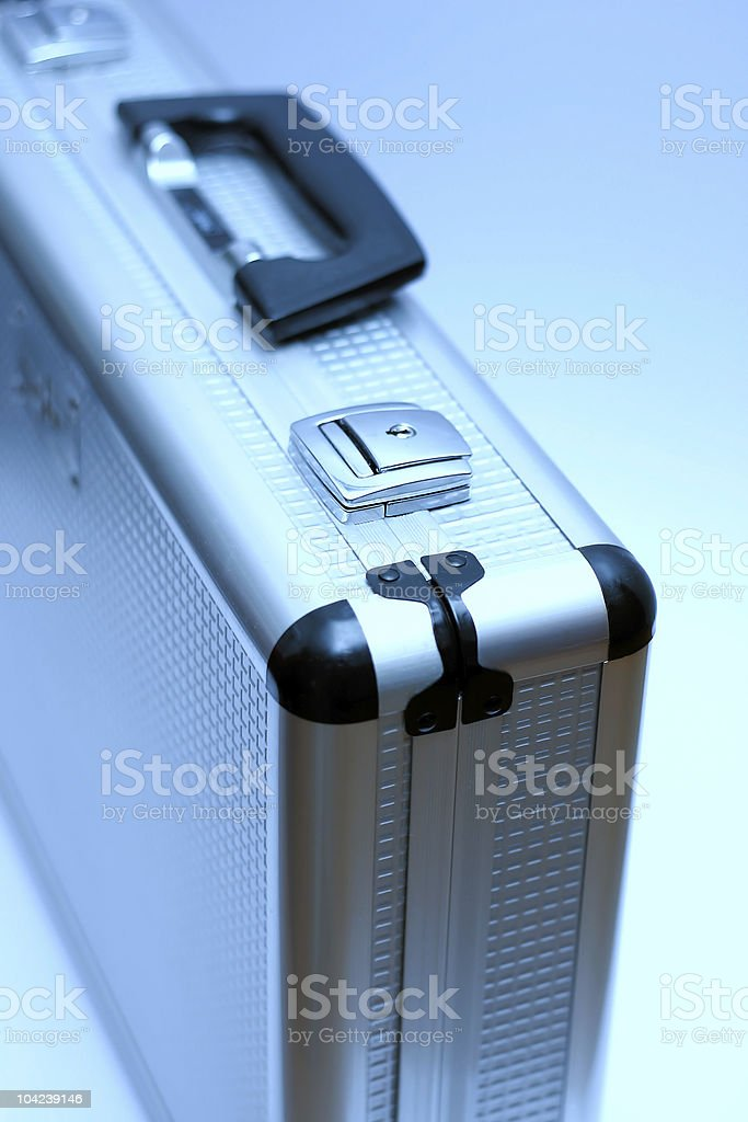 Metal Blue Briefcase royalty-free stock photo