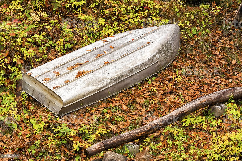 Metal Boat Upside Down in the Woods stock photo