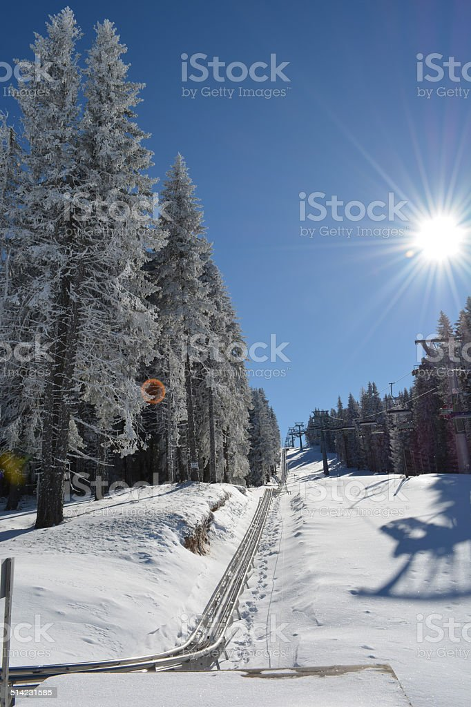 Metal bobsled tracks stock photo