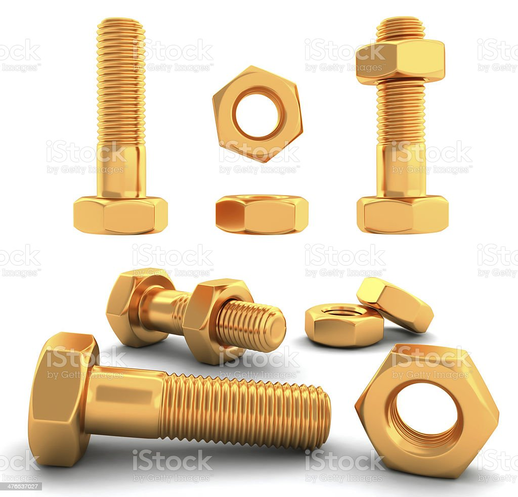 Metal bolts 3D royalty-free stock photo