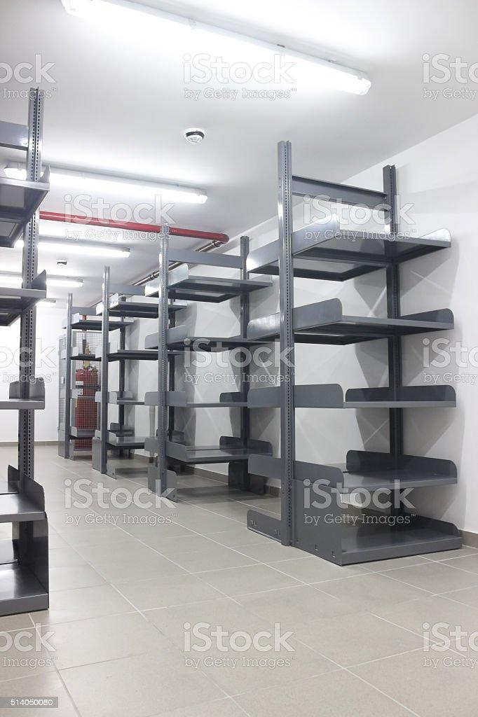 Metal Book shelves stock photo