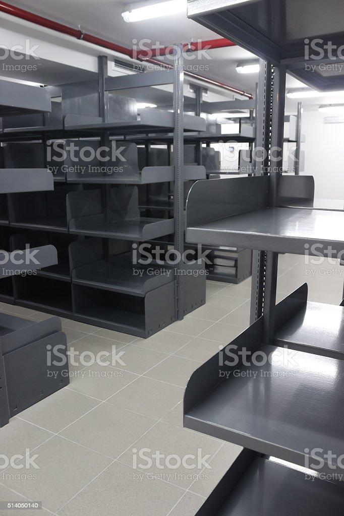 Metal bookcases stock photo