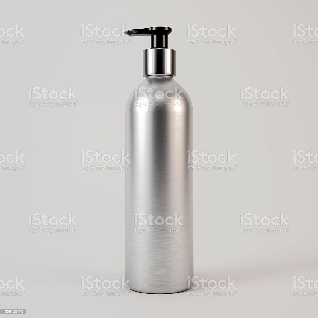 Metal bottle for cosmetics Isolated on white background stock photo