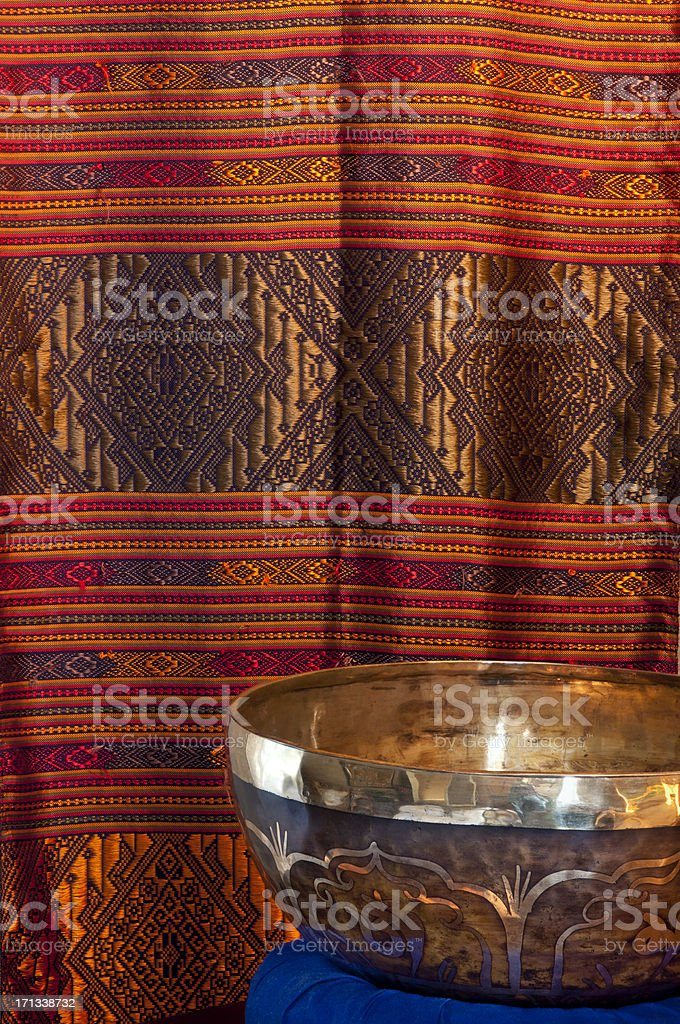 Metal bowl with colorful background stock photo