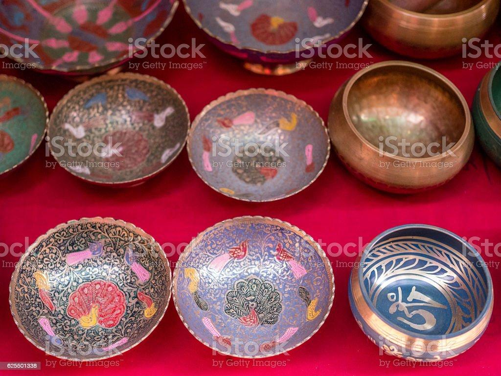 Metal Bowls For Sale in Kathmandu, Nepal stock photo