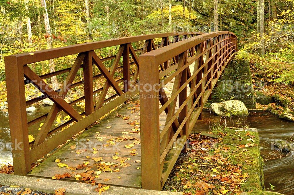Metal bridge crossing a stream in the fall. stock photo