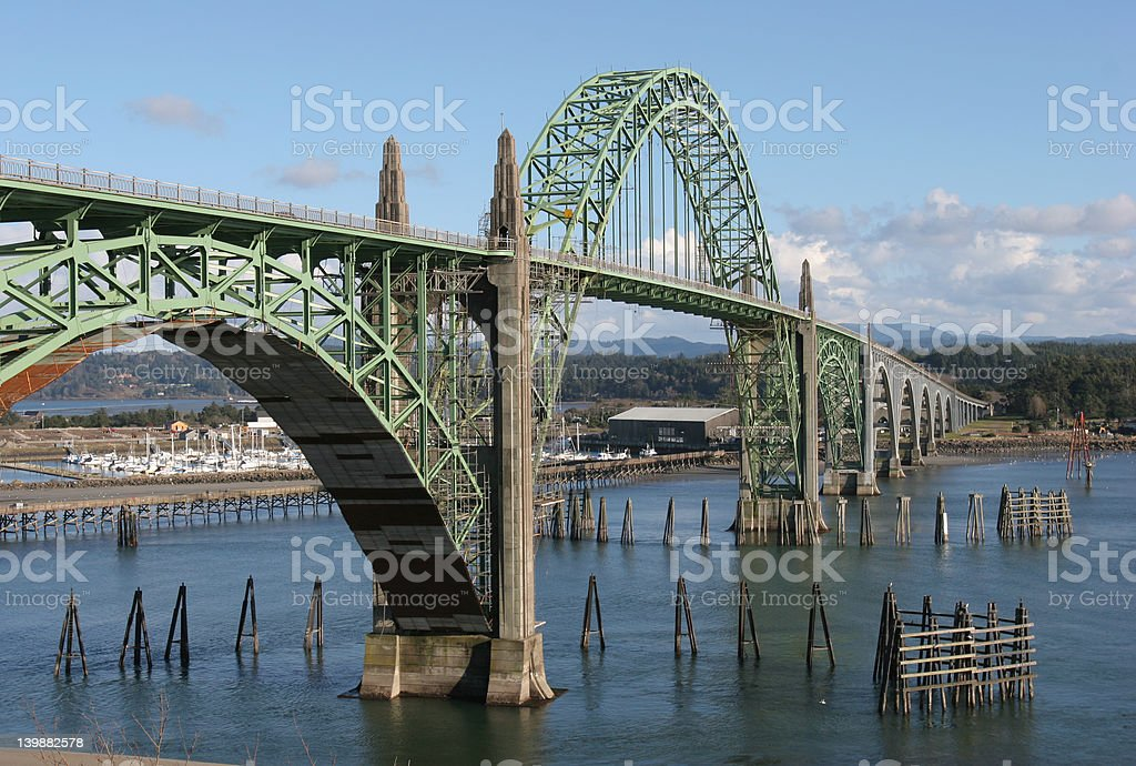 Metal Bridge over Water stock photo