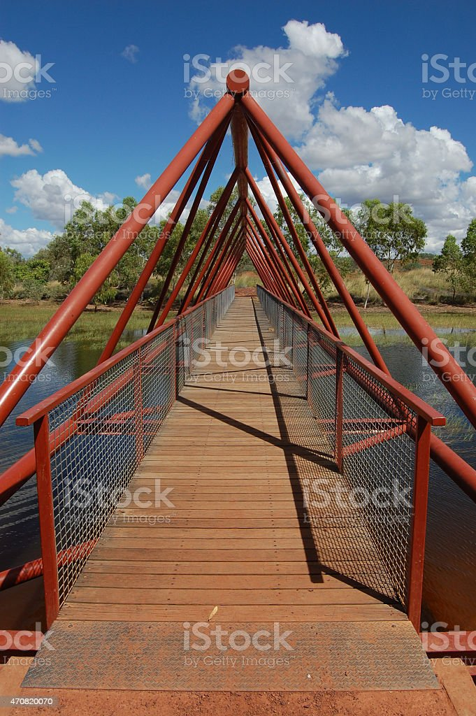 Metal bridge with timber cover stock photo