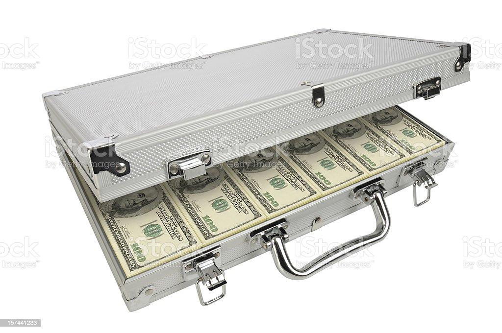 Metal Briefcase Full of Bribe/Ransom Money, Hundred Dollar Bills stock photo