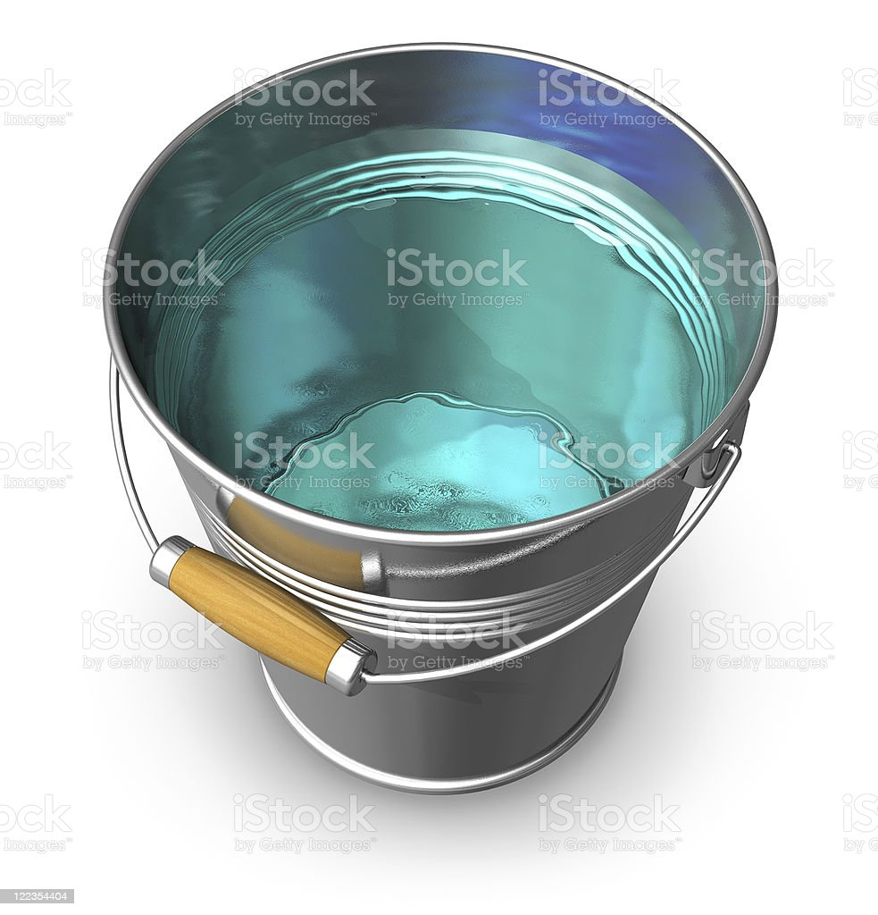 Metal bucket full of clear water royalty-free stock photo