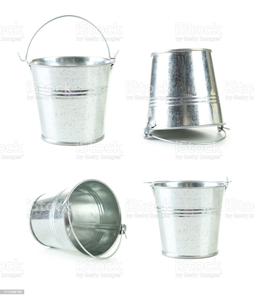 Metal bucket isolated on white stock photo
