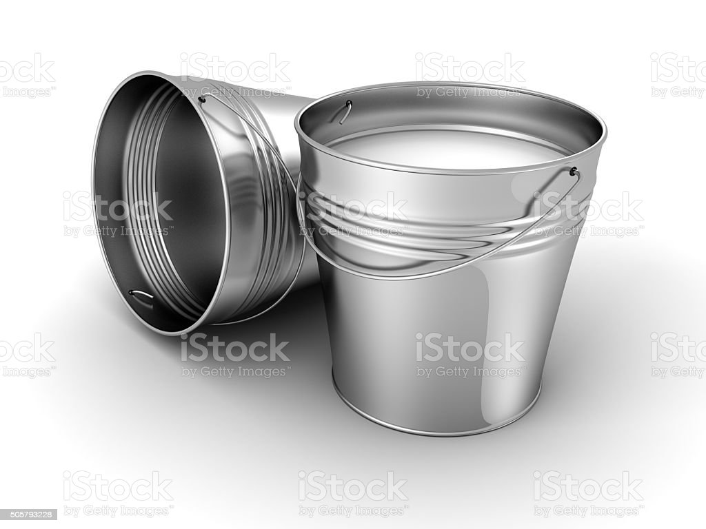 metal bucket with milk on white background stock photo