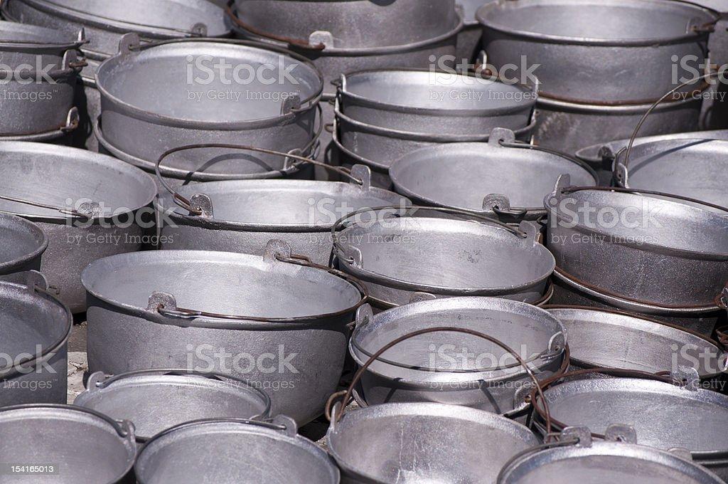 Metal buckets stock photo