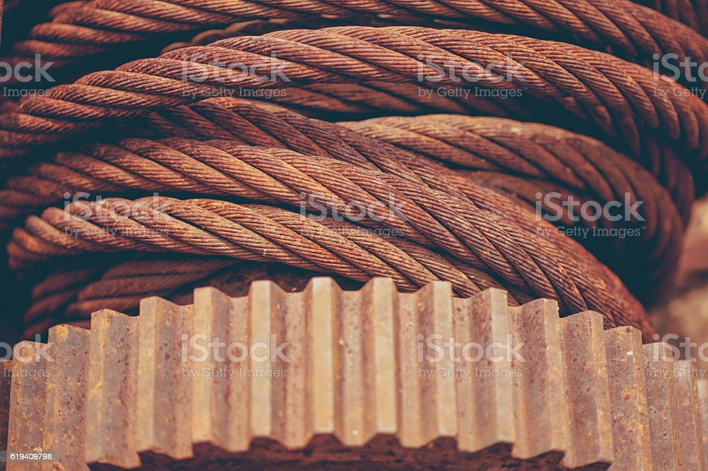 metal cable and gear stock photo