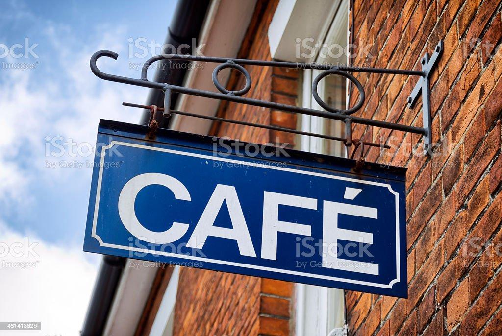 Metal cafe sign stock photo