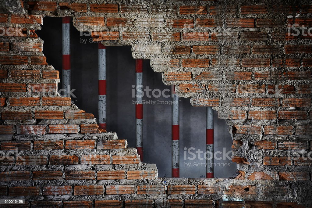 Metal Cage and Grunge Brick Wall Room, No Freedom Concept stock photo