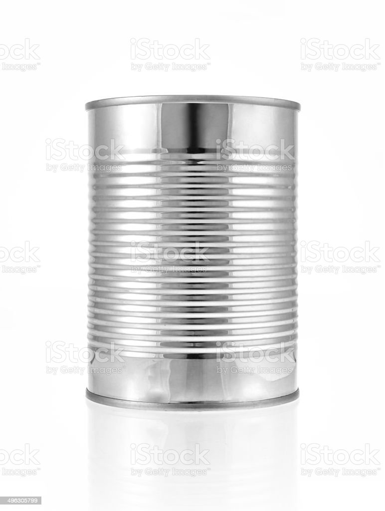 Metal can for preserved food on white background. stock photo
