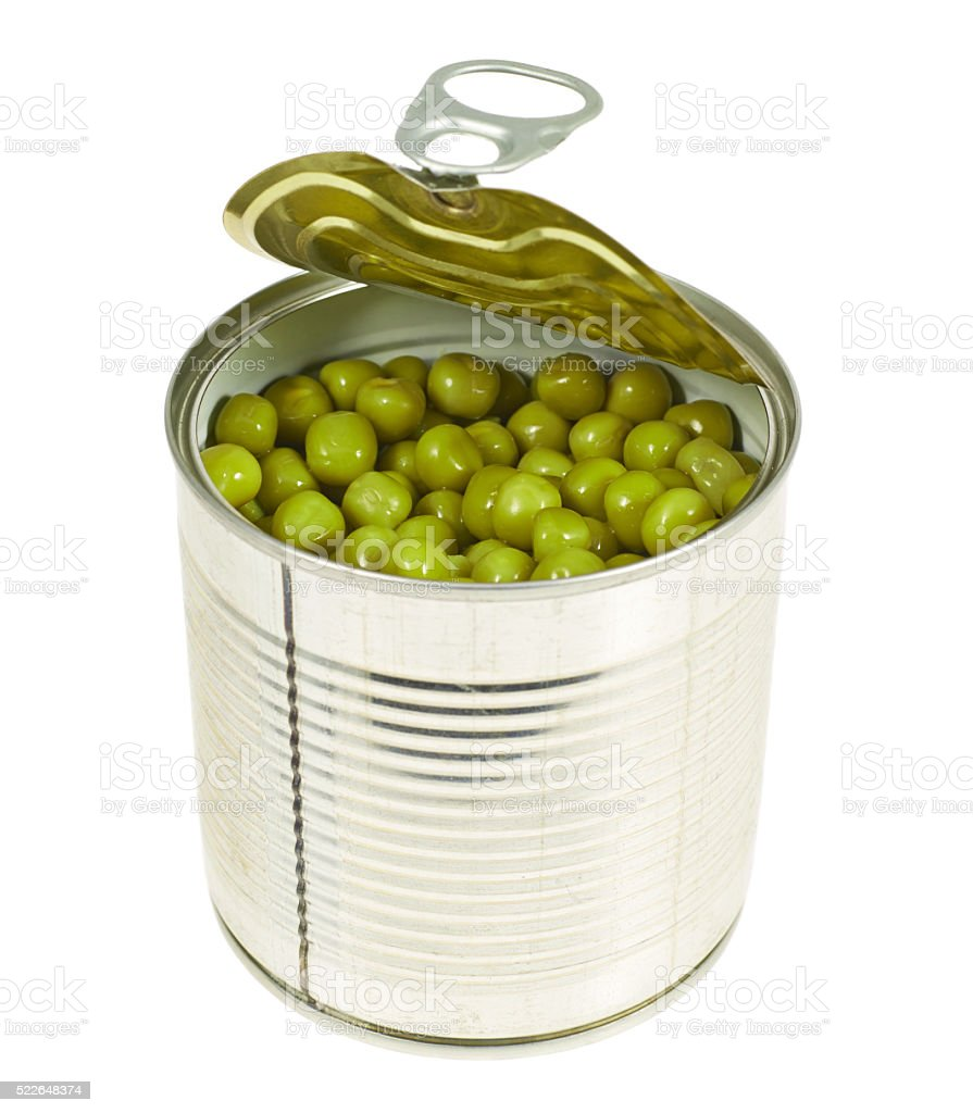 Metal can full of green peas isolated stock photo
