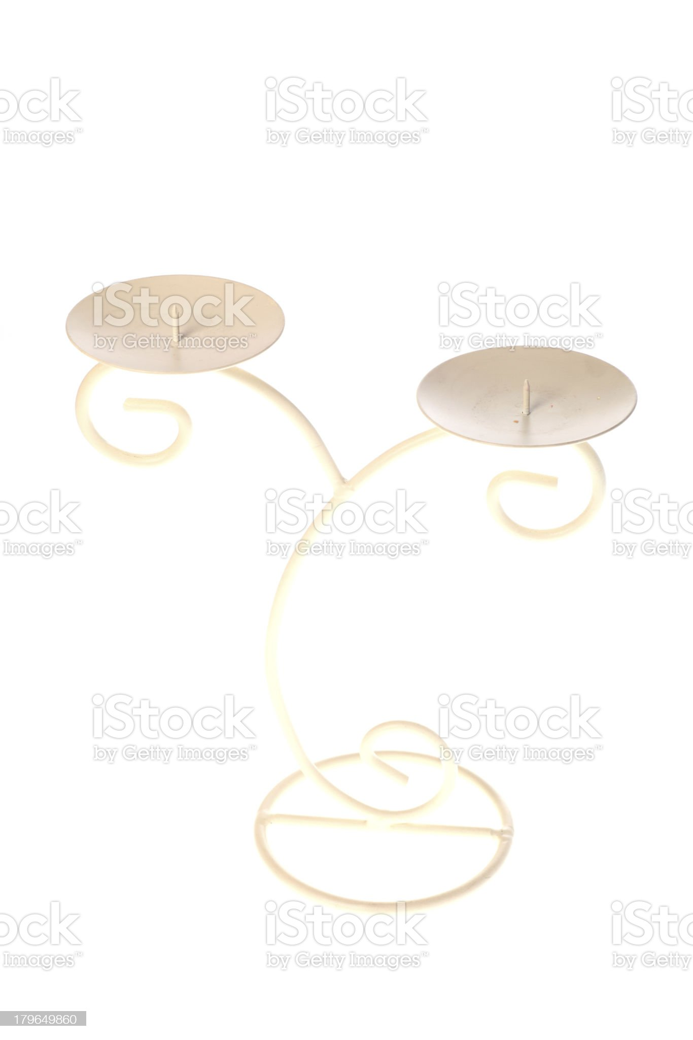 Metal candlestick with two candle royalty-free stock photo