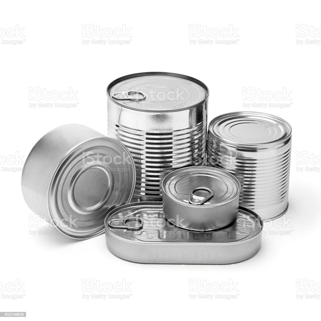 metal cans stock photo