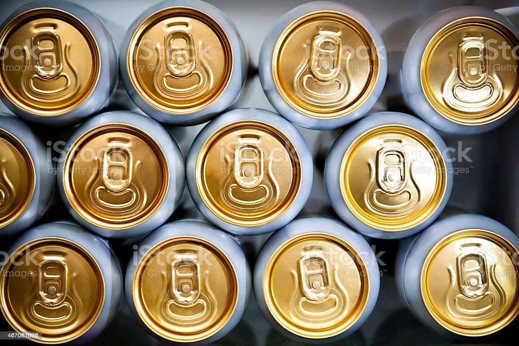 metal cans with refreshing drinks stock photo