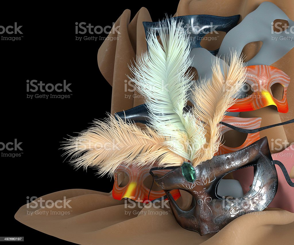 metal carnival mask with feathers royalty-free stock photo