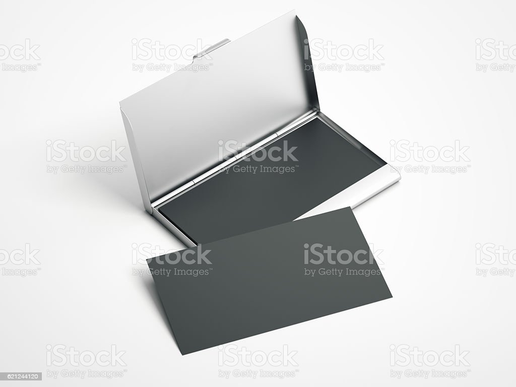 Metal case with white blank business cards . 3d rendering stock photo