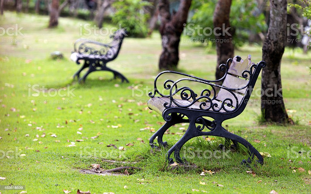 Metal chair at park stock photo