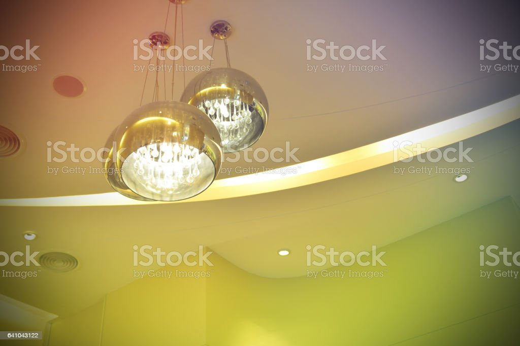 metal chandelier, electricity and light line and colorful style stock photo