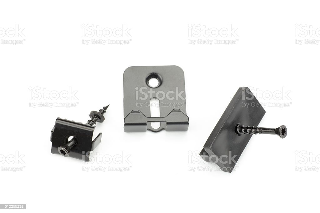 Metal clamps for mounting composite decking board stock photo