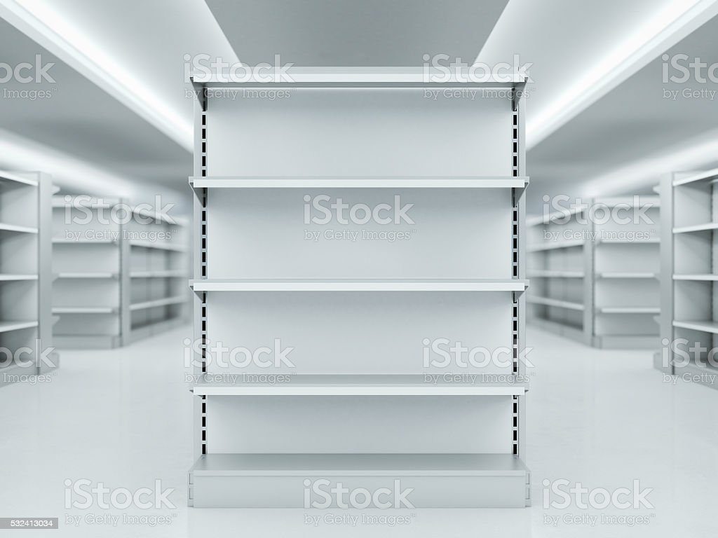 Metal clean shelves in market. 3d rendering stock photo