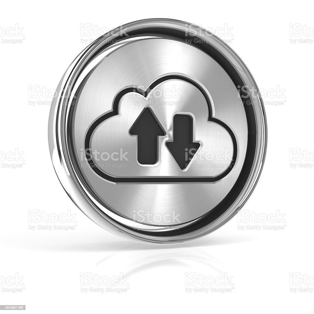 Metal cloud technology icon stock photo