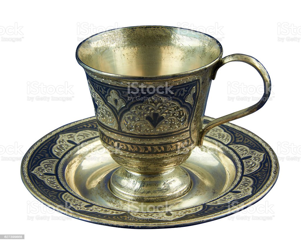 Metal coffee cup decorated embossed pattern royalty-free stock photo