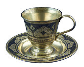 Metal coffee cup decorated embossed pattern