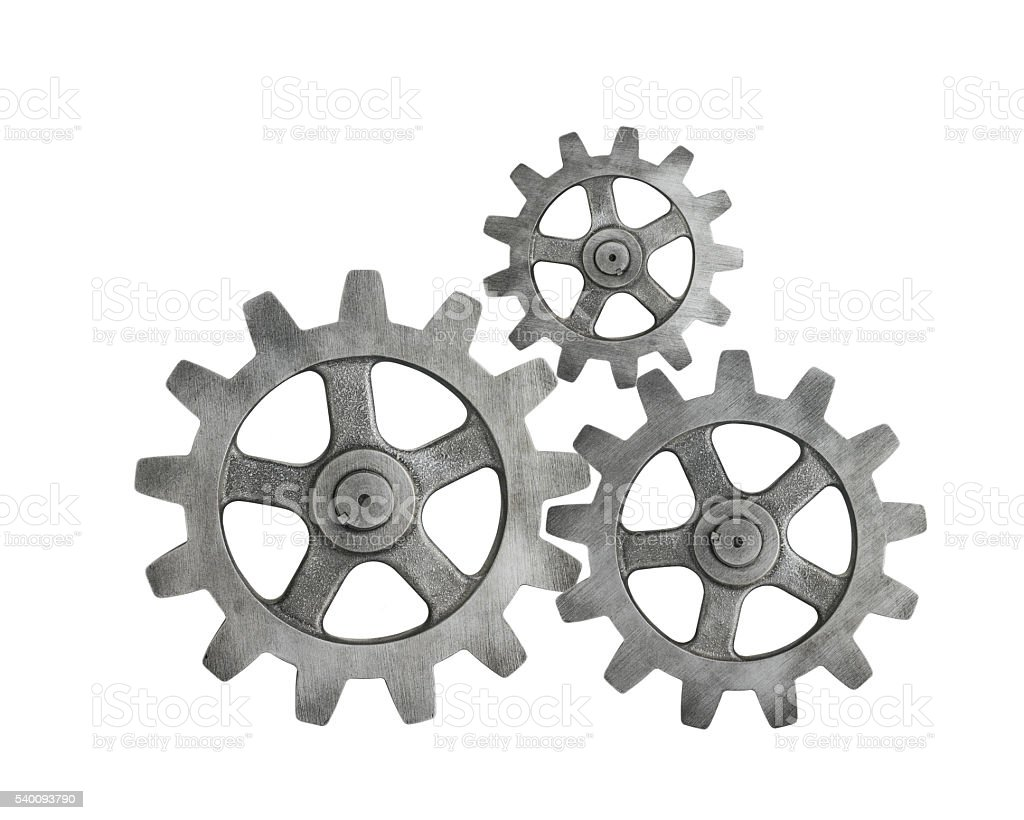 Metal Cog on White Background stock photo