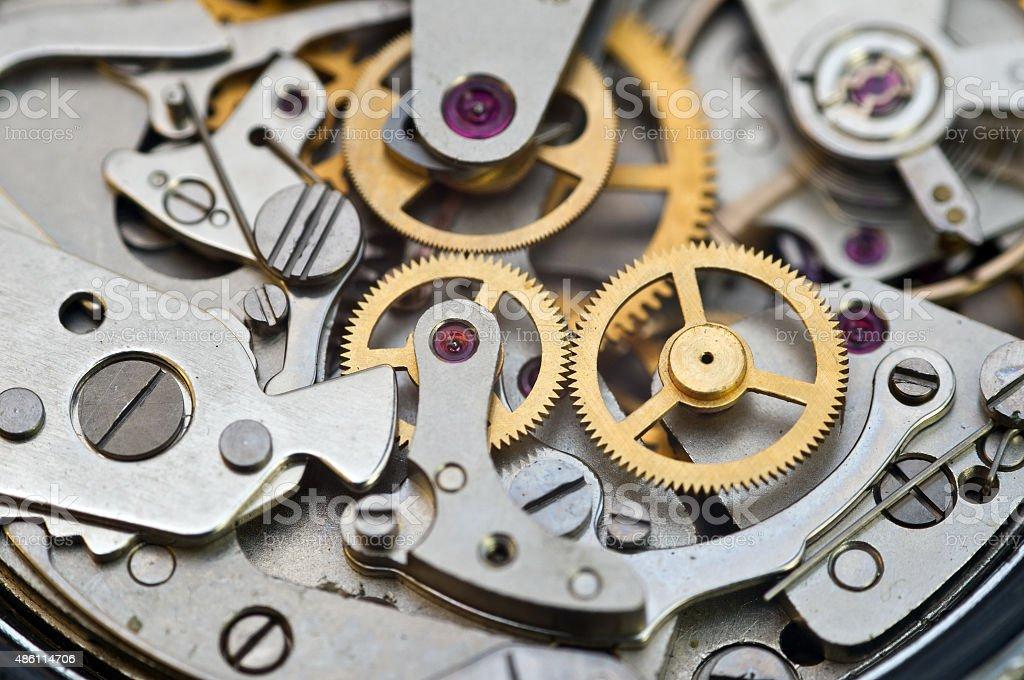 Metal Cogwheels in Clockwork, Concept Teamwork stock photo