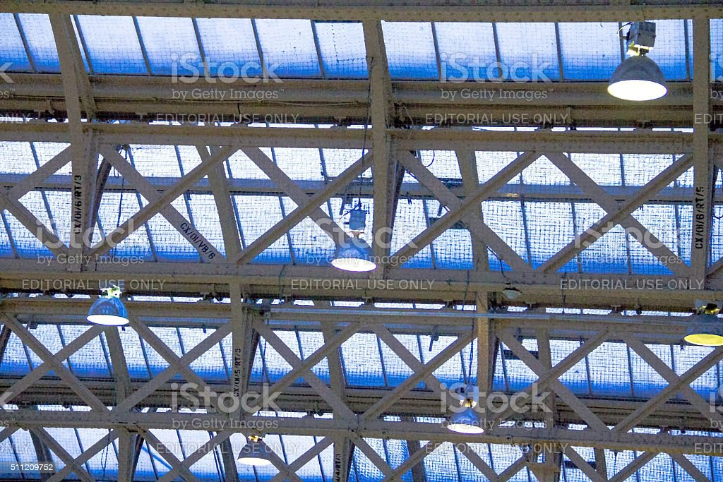 Metal construction and glass ceiling at Charing Cross railway station stock photo