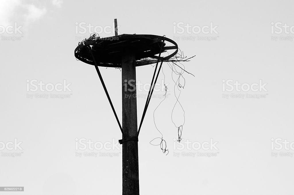 Metal construction for Stork nest stock photo