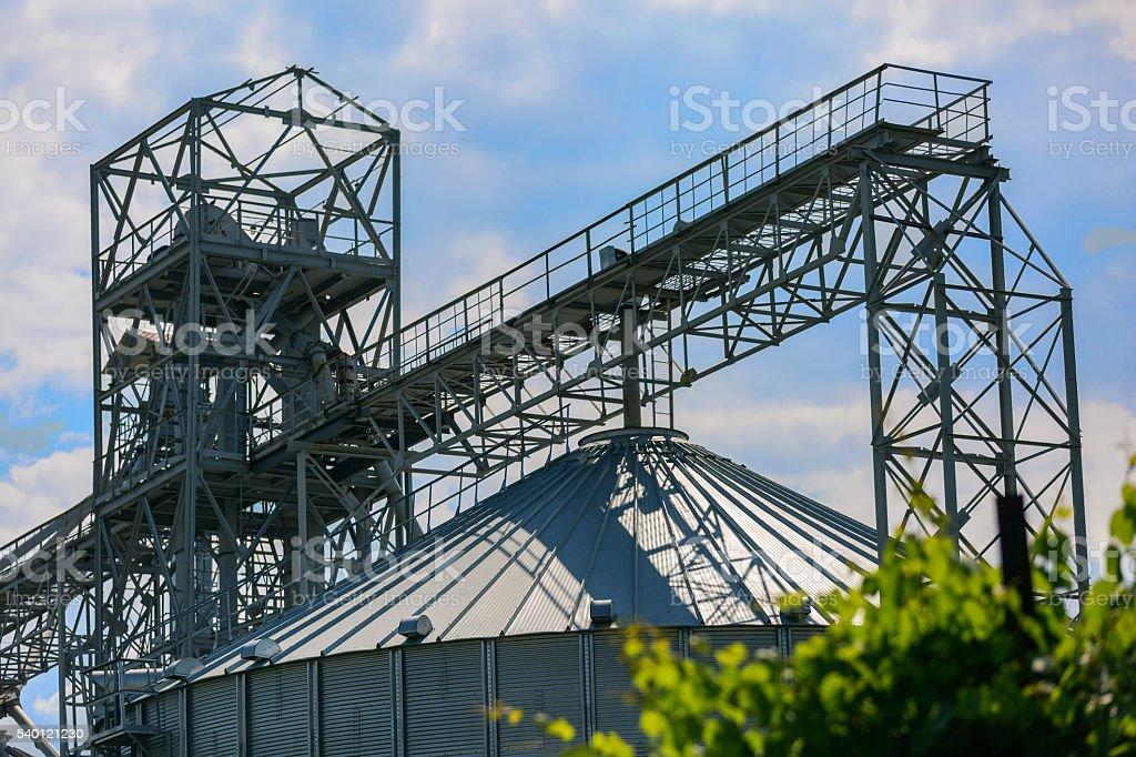 Metal construction over silo stock photo