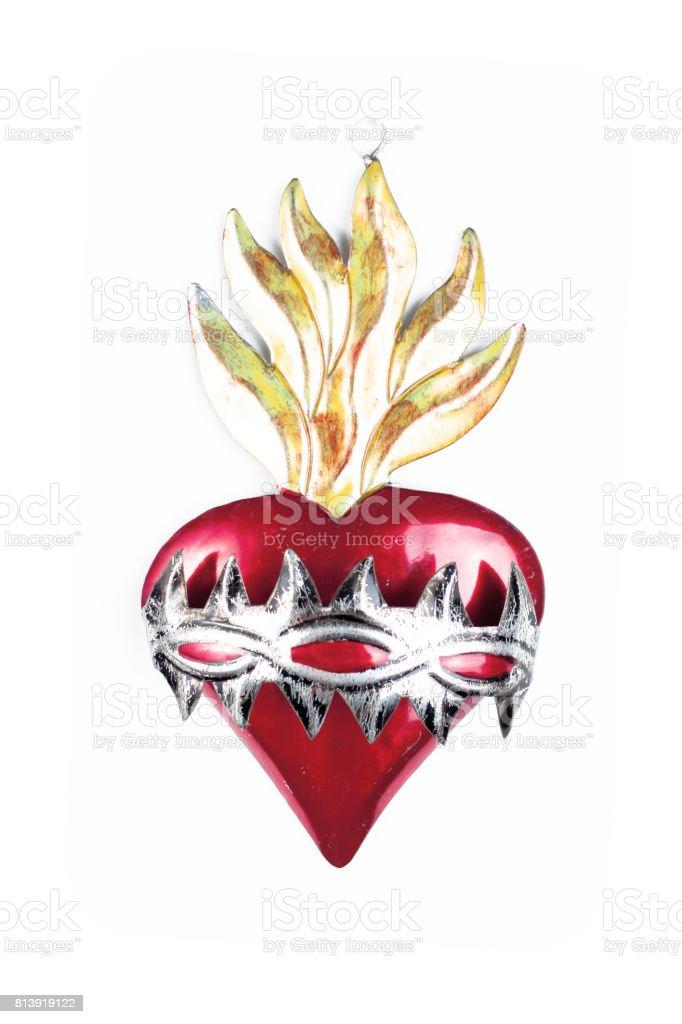 Metal crafts multicolor heart stock photo