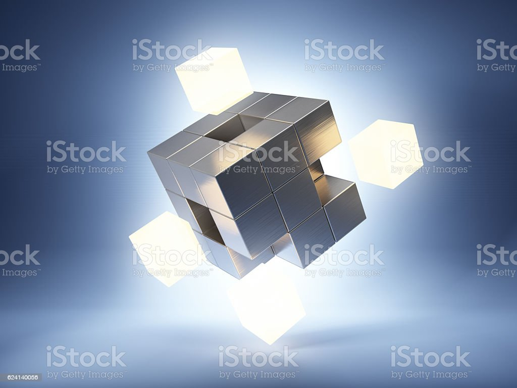 Metal cube with bright key elements stock photo