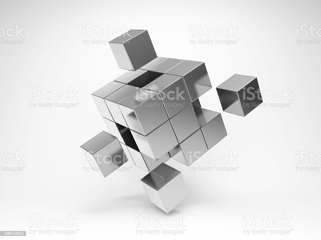 Metal cube with key elements stock photo